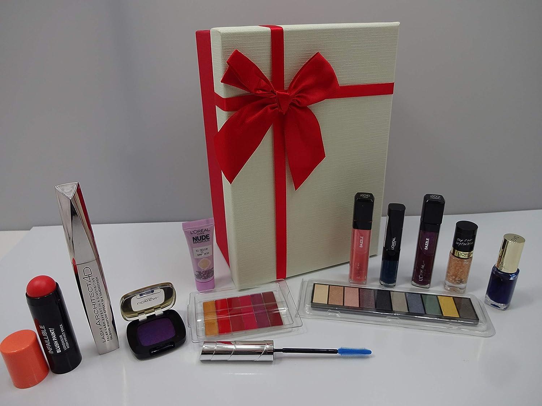LOreal Beauty Blockbuster - Caja de regalo de maquillaje, 10 piezas LOreal maquillaje productos en caja de regalo + crema desenfoque nude magique: Amazon.es: Belleza