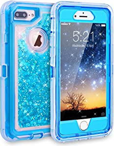 Dexnor iPhone 7 Plus Case, Glitter 3D Bling Sparkle Flowing Liquid Case Transparent 3 in 1 Shockproof TPU Silicone Core + PC Frame Cover for iPhone 7 Plus/6s Plus/6 Plus - Blue