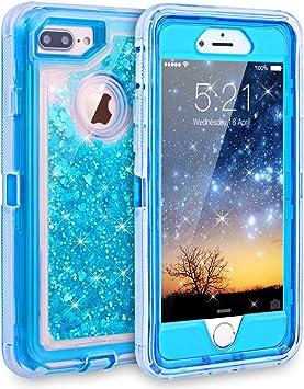 Dexnor Coque 3 en 1 pour iPhone 7 Plus, 6S Plus/6 Plus - Coque transparente en silicone TPU résistant aux chocs cadre en polycarbonate - Bleu
