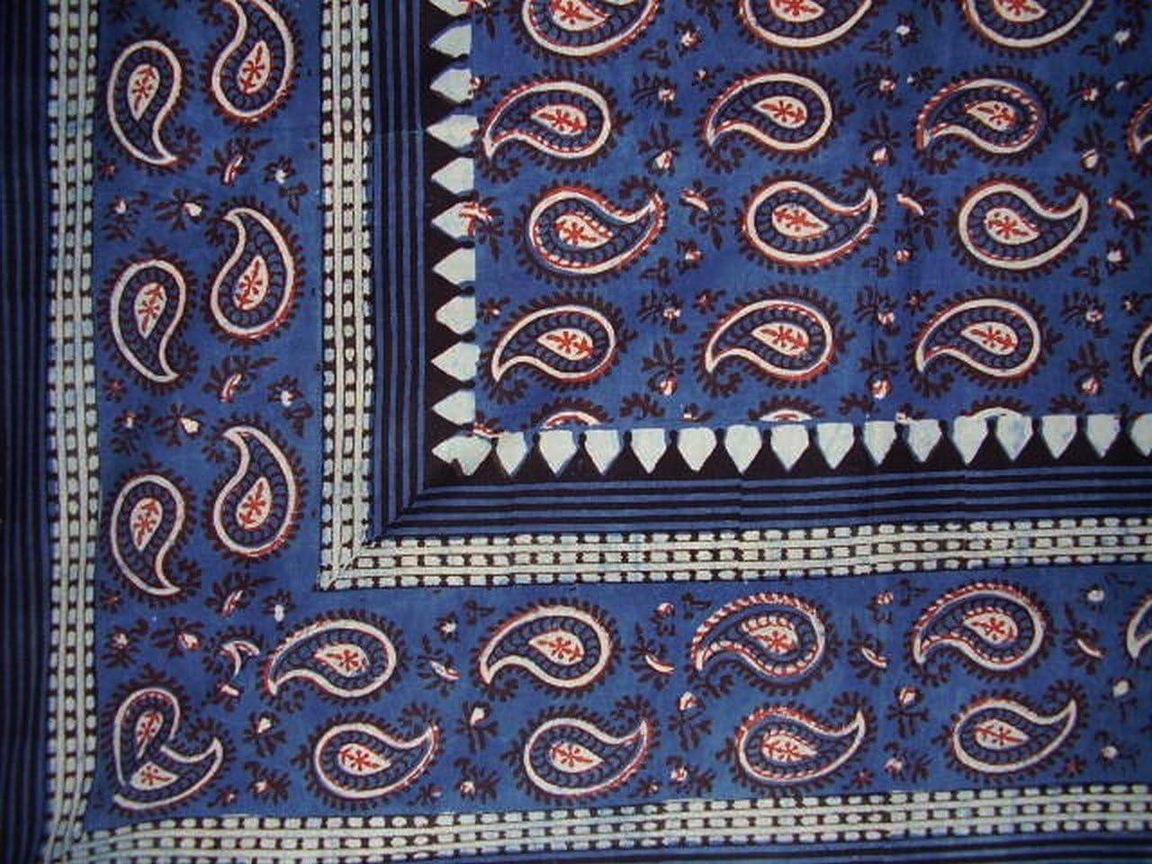 Homestead Primitive Paisley Block Print Tapestry Cotton Spread 106 x 70 Twin Blue