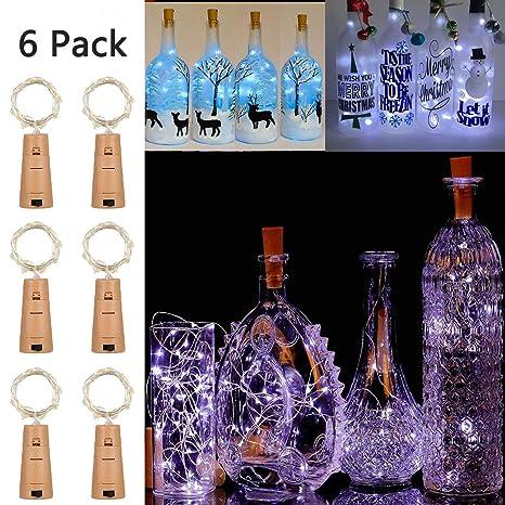 Luces inteligentes con para botella de vino con corcho, 10 Packs luces de cable mágico con Decoración, Navidad, Bodas (Blanco frío + versión general)