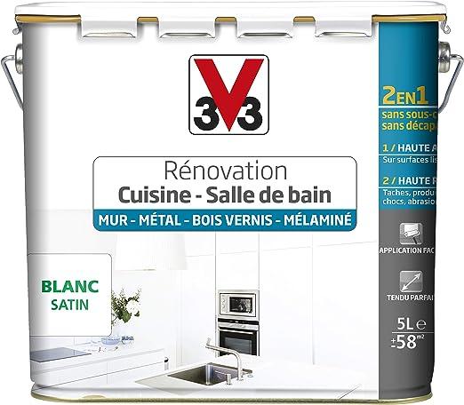 V33 Peinture Rénovation Cuisine Salle De Bain Murs Métal Bois Vernis Mélaminé Blanc Satin 5l