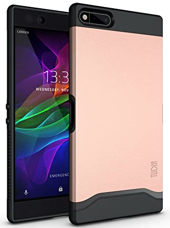 new concept 706c5 602f3 TUDIA Razer Phone Case, Slim-Fit HEAVY DUTY [MERGE] EXTREME  Protection/Rugged but Slim Dual Layer Case for Razer Phone (2017 Version)  (Rose Gold)