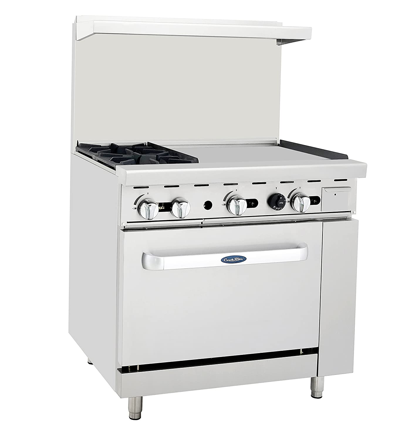 "Atosa ATO-2B24G NG 36"" Gas Range 2 Burners 24'' Griddle with 26.5"" Stove ETL"