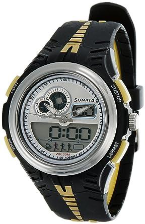 buy sonata super fibre analog digital multi color dial men s watch rh amazon in