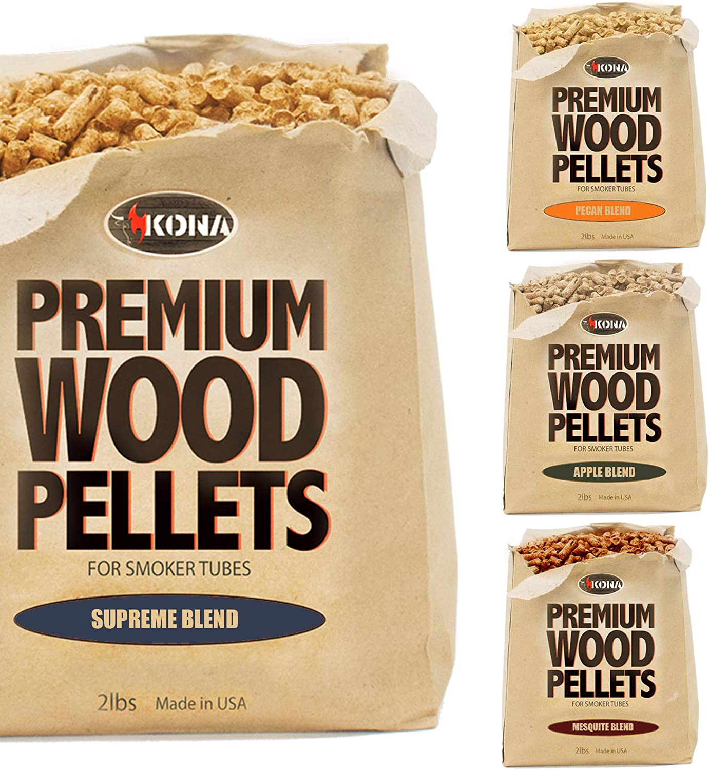 Kona Smoker Grilling Pellet (Set of 4) 2 Pound Variety Pack (8 pounds Total), Apple Blend+Pecan Blend+Supreme Blend+Mesquite Blend