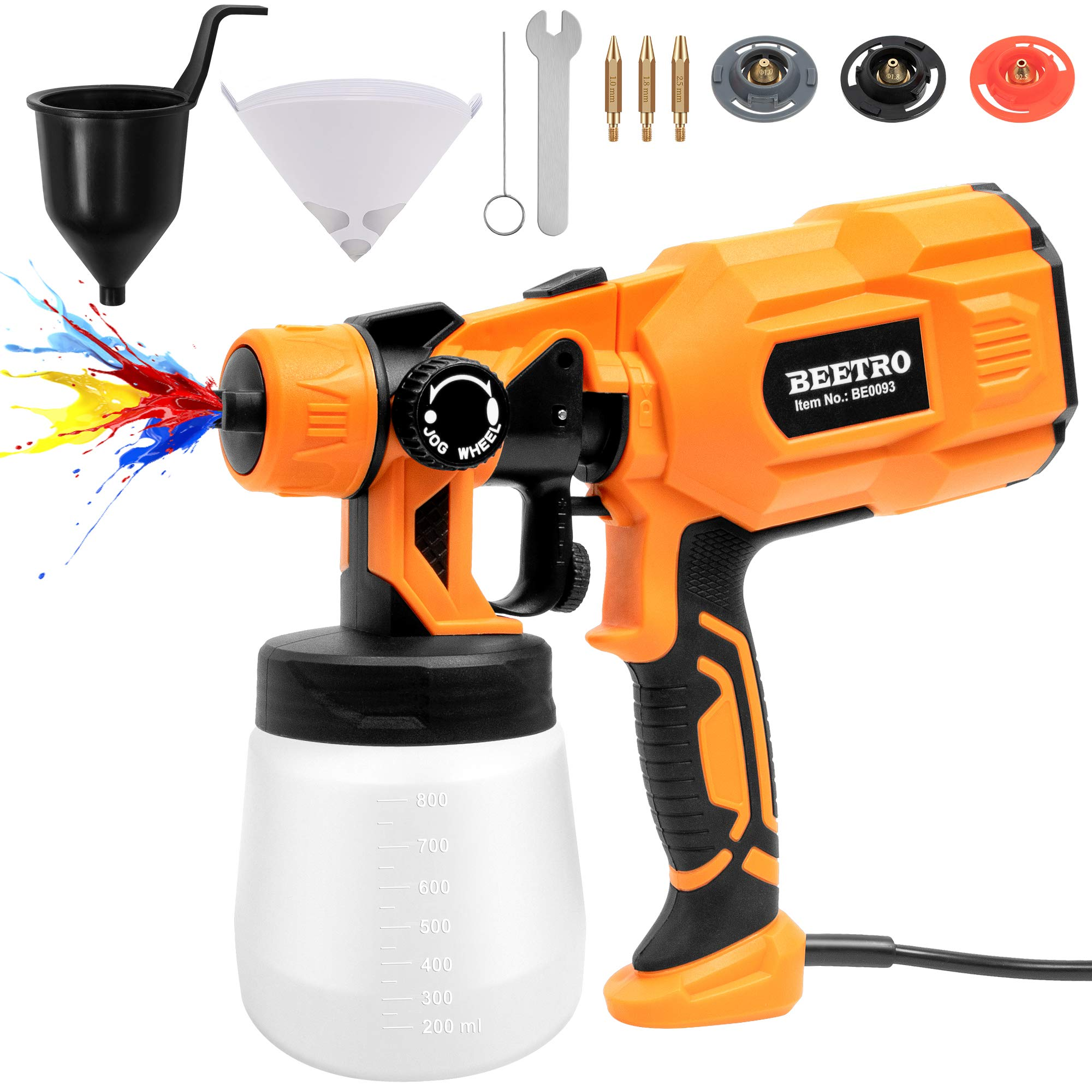 BEETRO Paint Spray Gun 550W High Power 450ml/min with 3 Premium Copper Nozzles and 10pcs 190 Micron Paint Strainers, 800ml Container HVLP Electric Sprayer for Home Easy Spraying and Cleaning