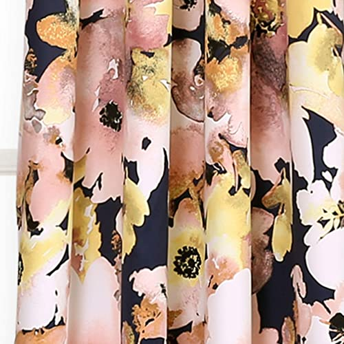 Lush Decor 16T002398 Floral Watercolor Room Darkening Window Curtain Panel Pair, 84 x 52 , Navy and Pink