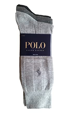 8bbdc5774a64 Polo Ralph Lauren Men s 3 Pack Ribbed Dress Socks (Assorted Grays)