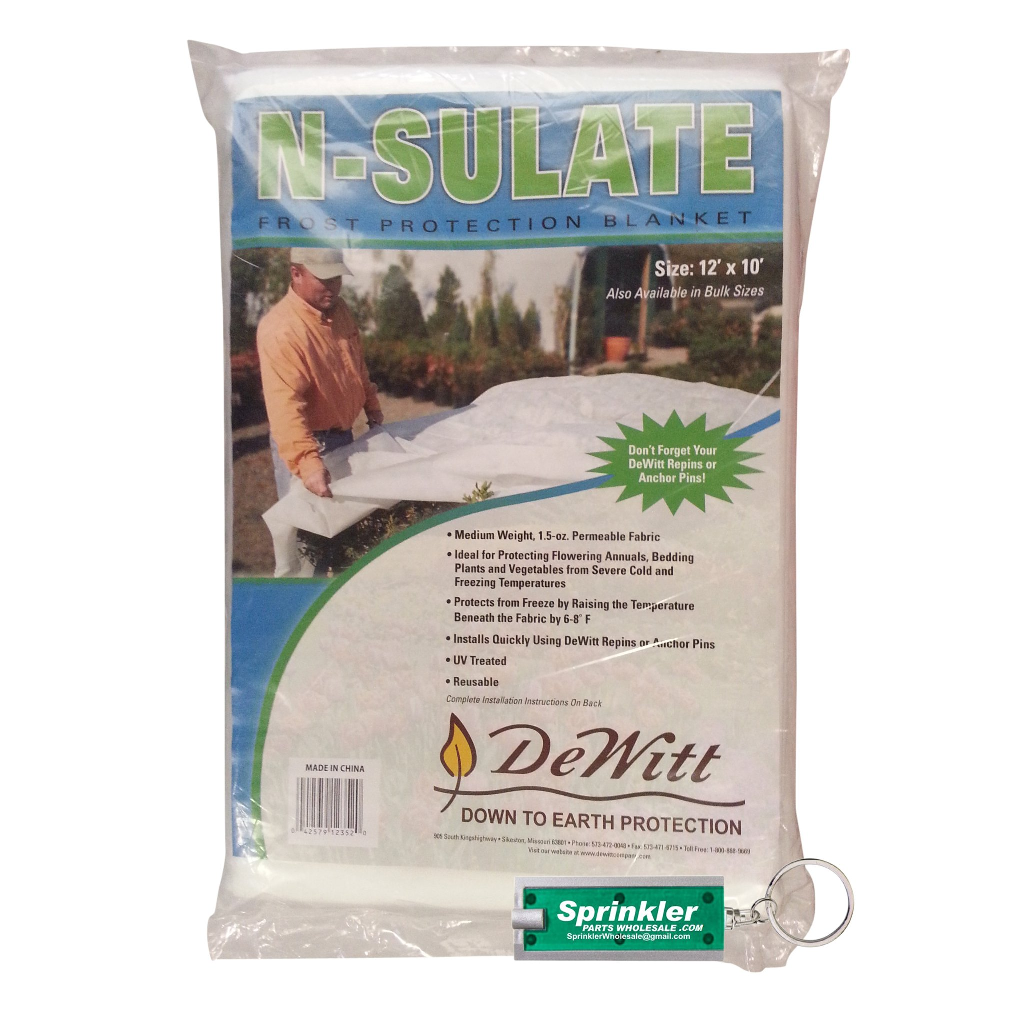 DeWitt NS12 Fabric N Sulate Plant Protection, 10-Feet, 1.5- Ounce DeWitt NSulate including a SprinklerPartsWholesale Flashlight Keychain with every order! (7)