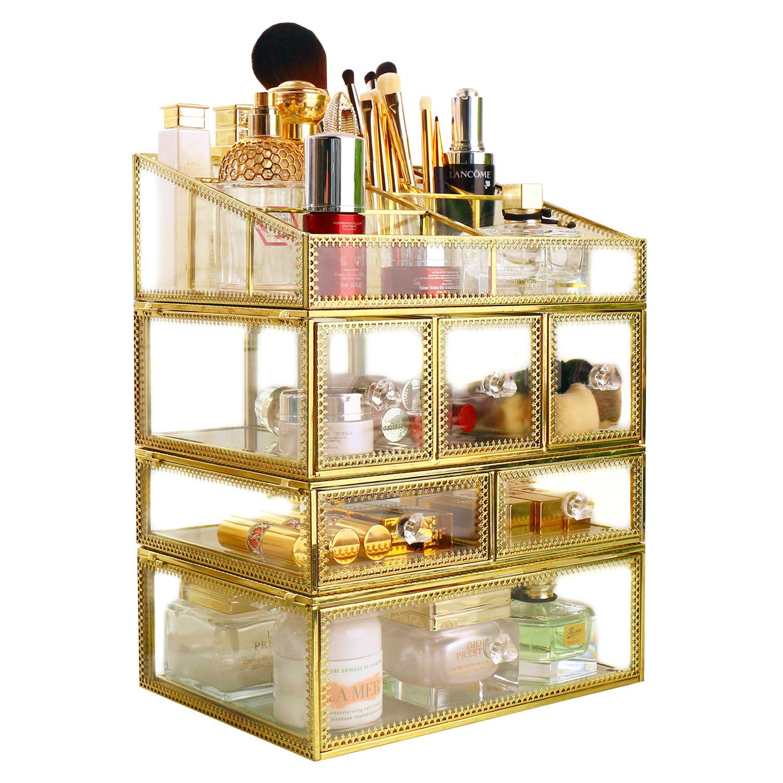 minopigo Antique Spacious Mirror Glass 6Drawers Vanity Tray Set/Gold Metal Cosmetic Makeup Storage/Stunning Jewelry Cube Organizer. It Consists of 4Separate Organizers Dustproof