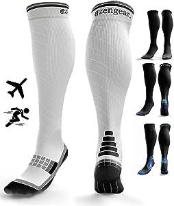 Compression Socks for Men & Women (20-30 mmHg) - Pro Sports - Anti DVT Varicose Vein Stockings - Running - Shin Splints Calf Support - White & Black L/XL