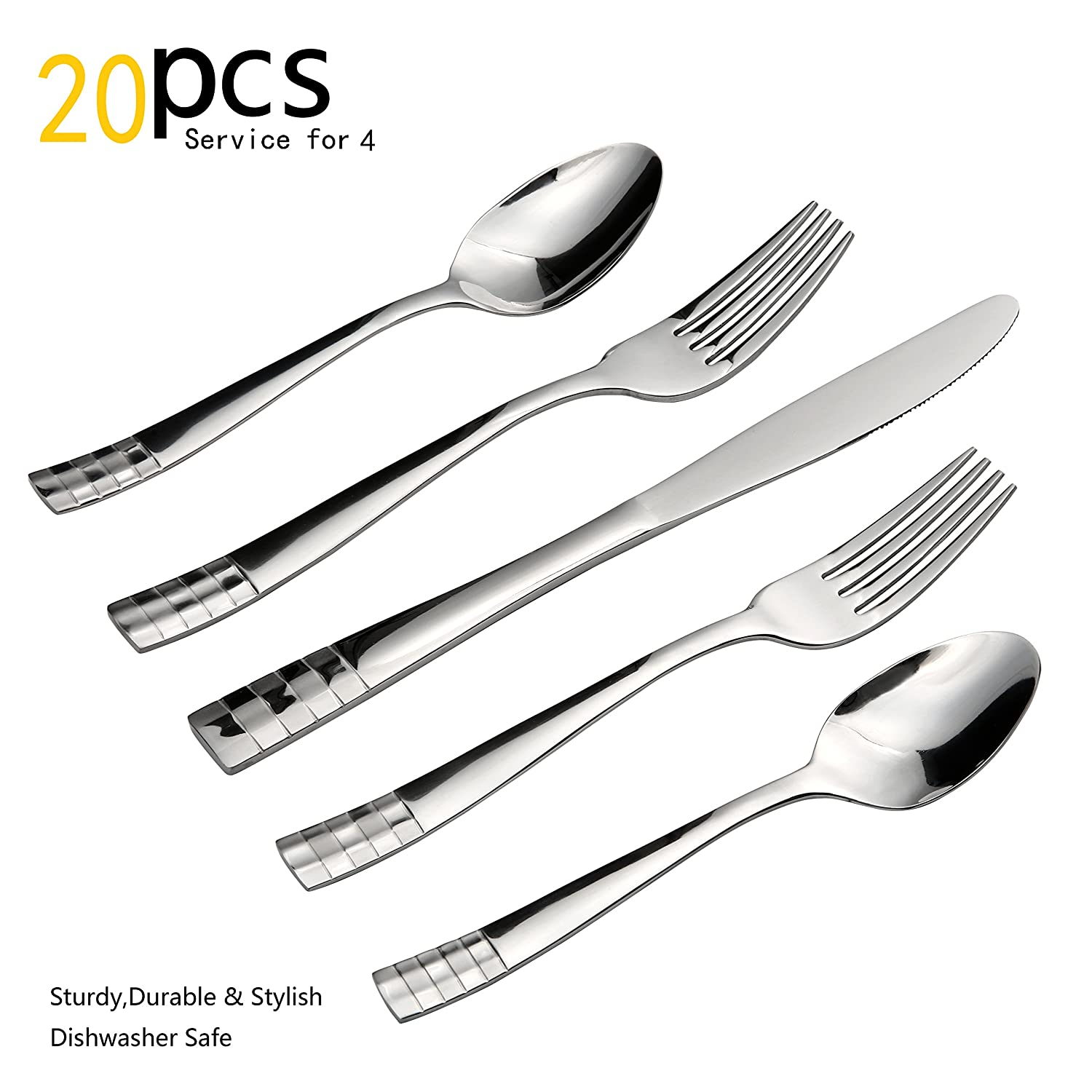 Silverware Set, 20 Pieces Flatware Set With Fork, Knife And Spoon, Service For 4 By Kitchentrend by Kitchentrend