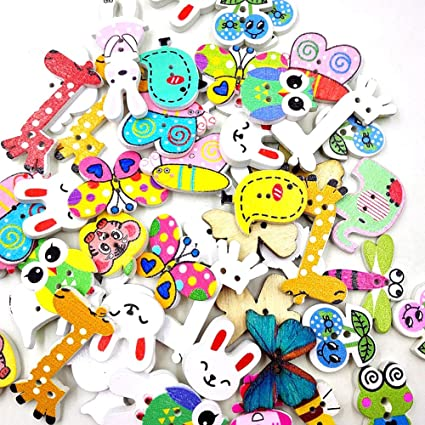 50pcs Mixed Animals Flatback Wooden Buttons for Sewing Scrapbooking Crafts