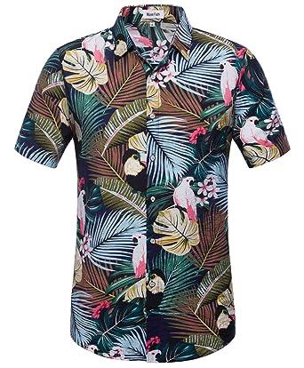 6f394ec2 MUSE FATH Mens Short Sleeve Summer Beach Shirt-100% CottonTropical Print Aloha  Shirt-