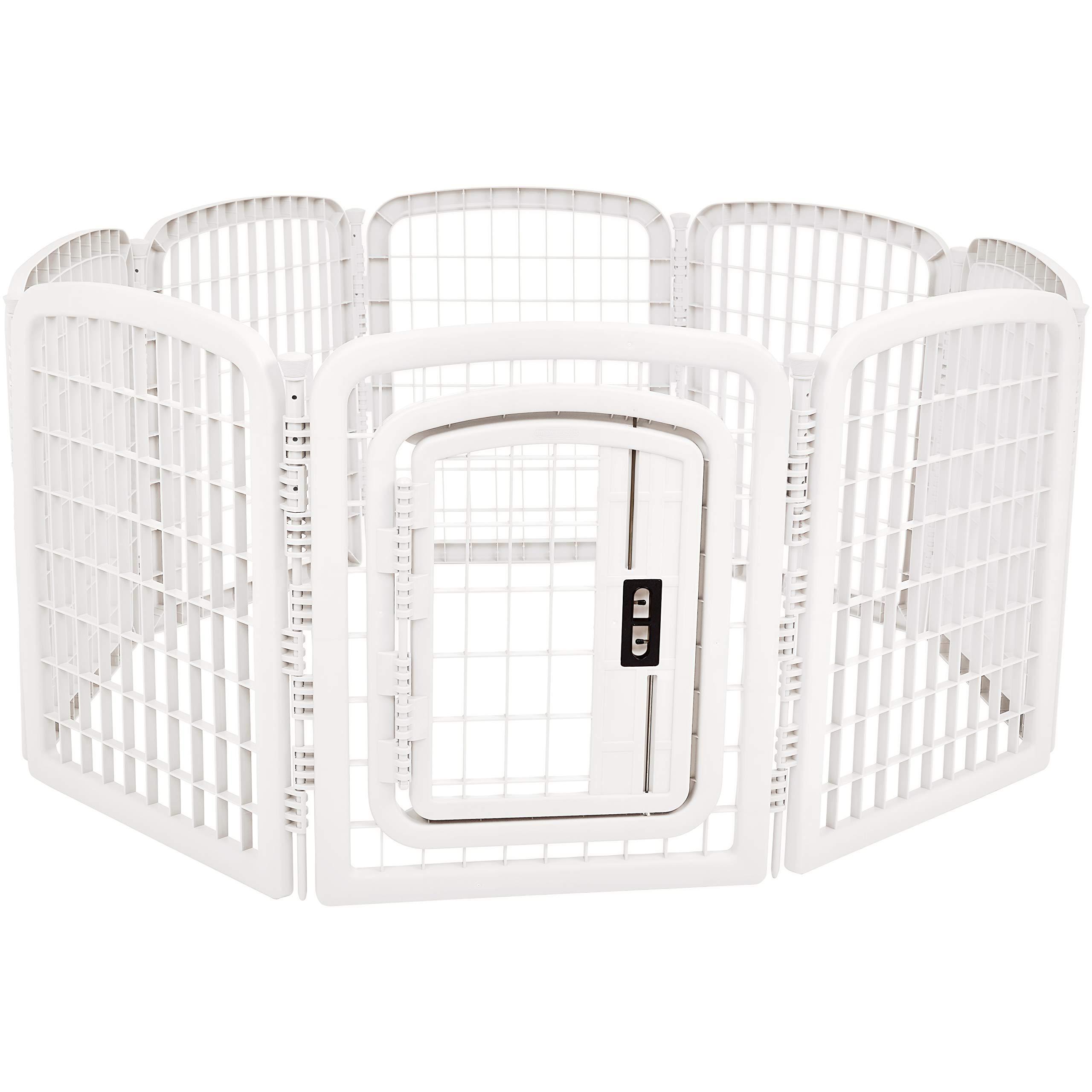 AmazonBasics 8-Panel Plastic Pet Pen Fence Enclosure With Gate - 59 x 58 x 28 Inches, White