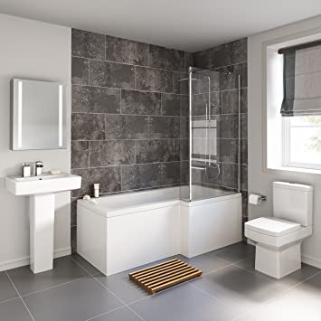 Badezimmereinrichtung, L-förmige Badewanne mit Standsäule ...