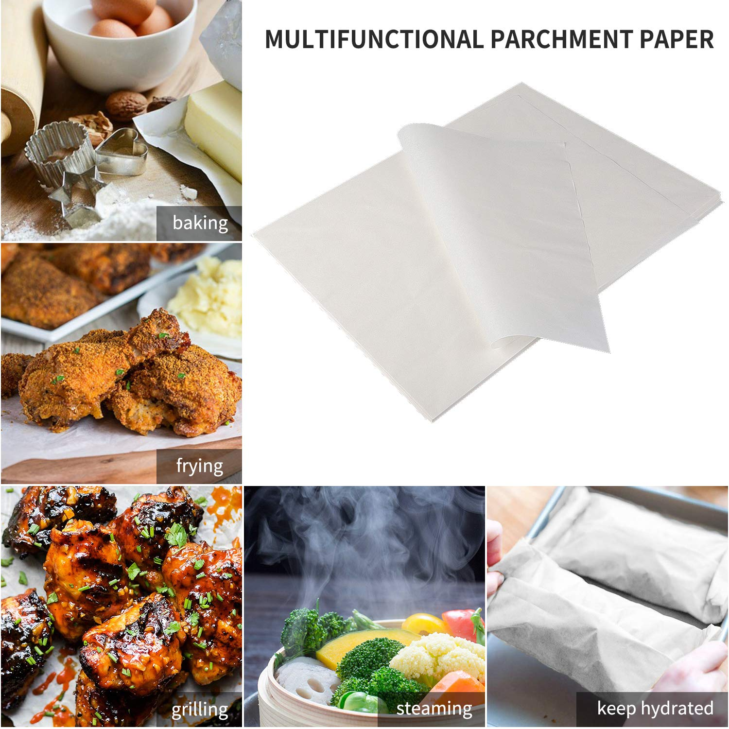 200-Pcs Parchment Paper Baking Sheets, SMARTAKE 12x16'' Non-Stick Precut Baking Parchment, Perfect for Baking Grilling Air Fryer Steaming Bread Cup Cake Cookie and More (White) by SMARTAKE (Image #2)