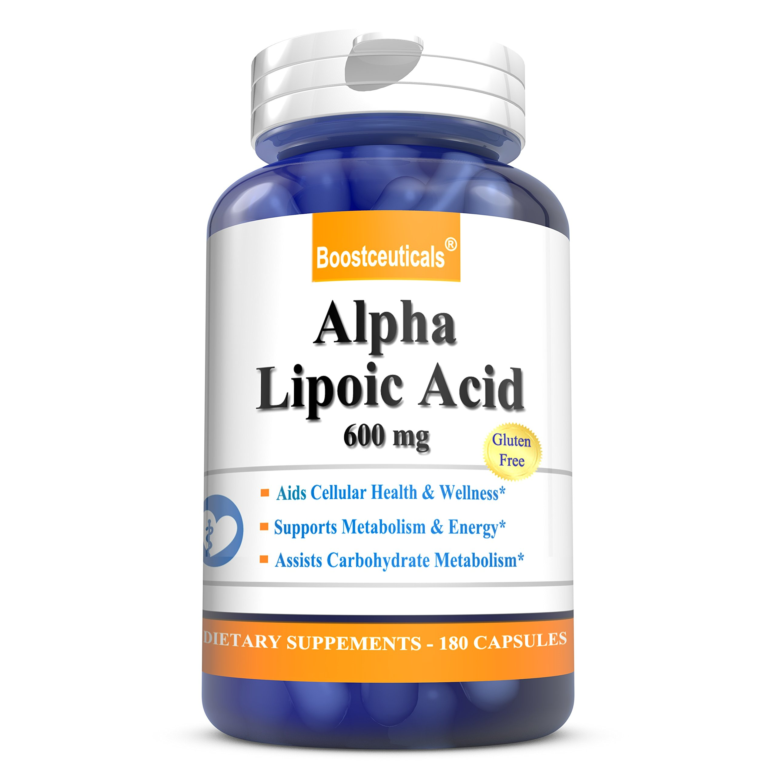 Alpha Lipoic Acid 600mg 180 Capsules - 100% Pure Lipoic Acid ALA Supplements by BoostCeuticals