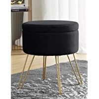 Ornavo Home Modern Round Velvet Storage Ottoman Foot Rest Stool/Seat with Gold Metal Legs & Tray Top Coffee Table…