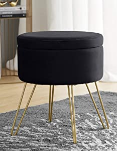 Ornavo Home Modern Round Velvet Storage Ottoman Foot Rest Stool/Seat with Gold Metal Legs & Tray Top Coffee Table - Black