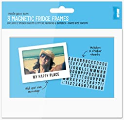 Shot2go Pack of 3 magnetic photo fridge frames white 4x6. Includes 2 sticker sheets to personalise frames!