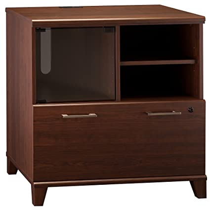Bush Furniture Achieve Printer Stand File Cabinet In Sweet Cherry