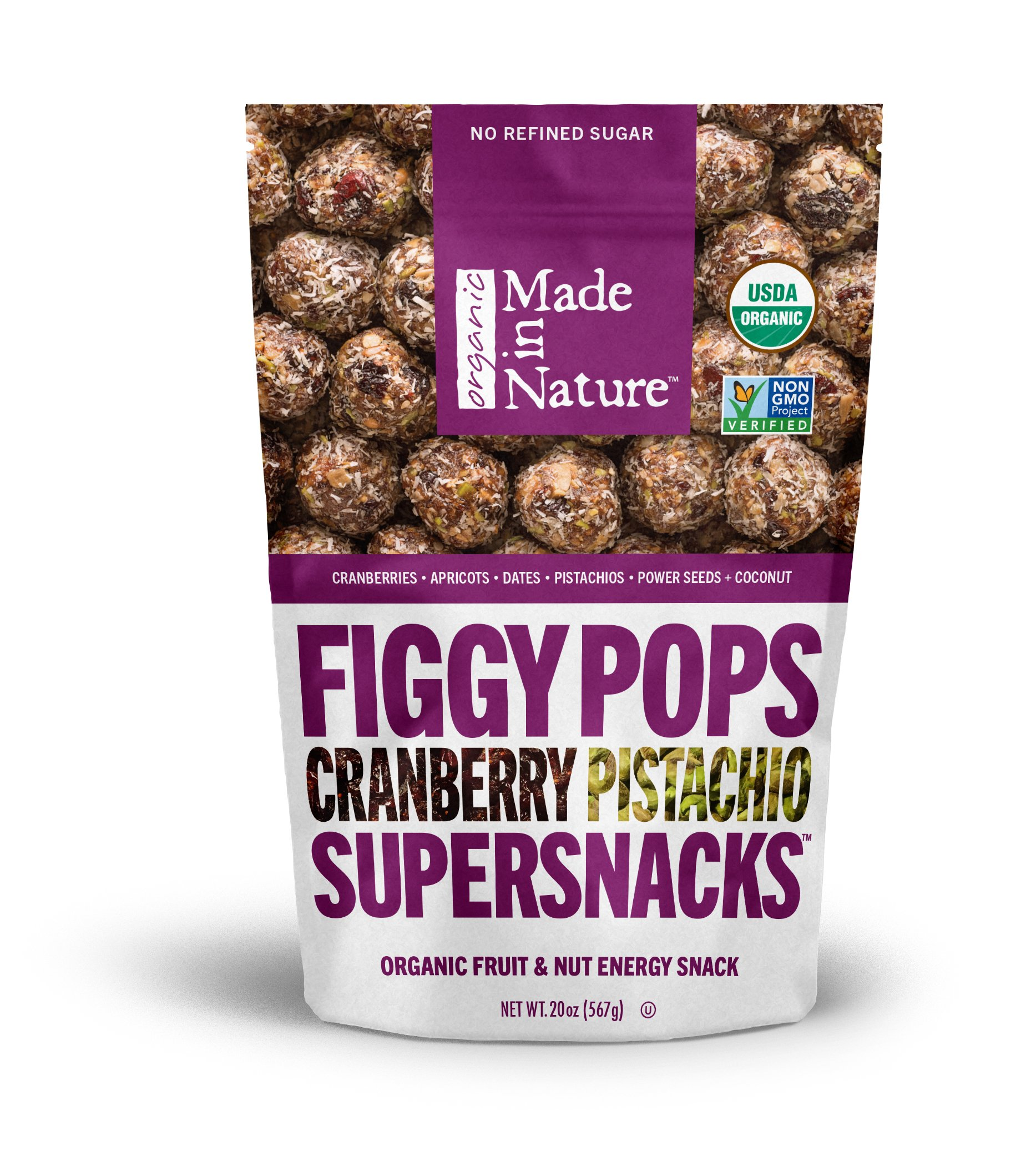 Made in Nature Organic Super Snacks, Cranberry Pistachio Figgy Pop, 20 Ounce