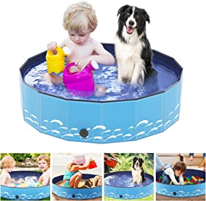 Number-one Dog Pool PVC Foldable Pet Swimming Pool Portable Collapsible Non-Slip Paddling Pool Bathing Tub Children Kid Ball Water Pond Kiddie Pool for Garden Patio Bathroom Outdoor,Blue