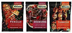 Wild Garden Mediterranean Marinade 3 Flavor Variety Bundle, (1) each: Persian, Shawarma, Turkish (6 Ounces)