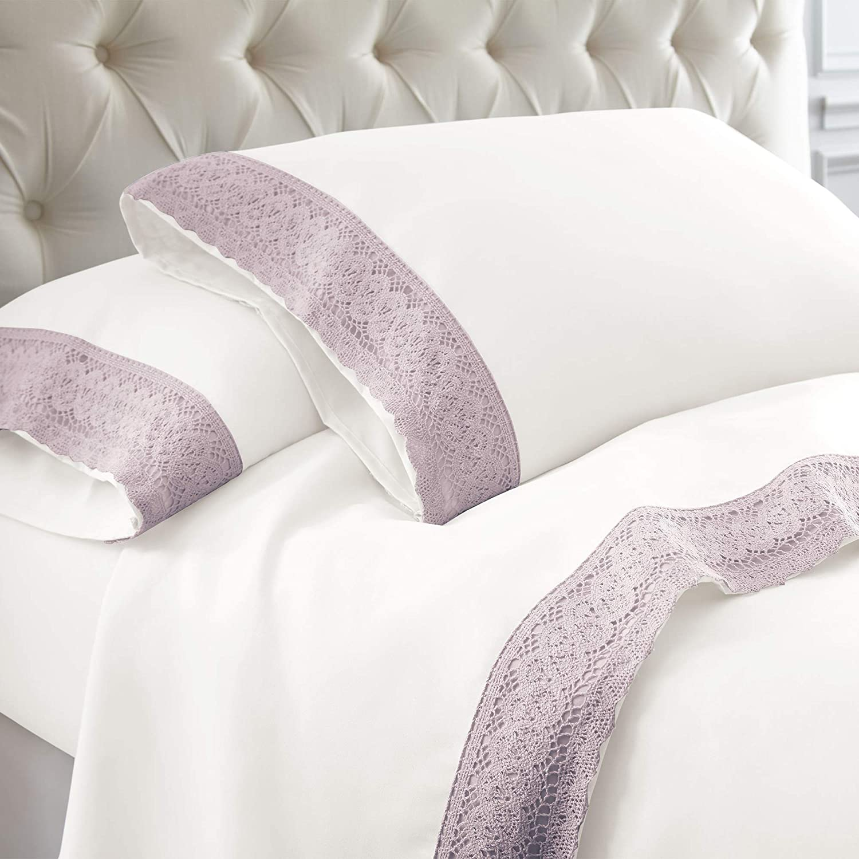 Amrapur Overseas 4-Piece Crochet Lace Microfiber Sheet Set, Queen, White/Lavender