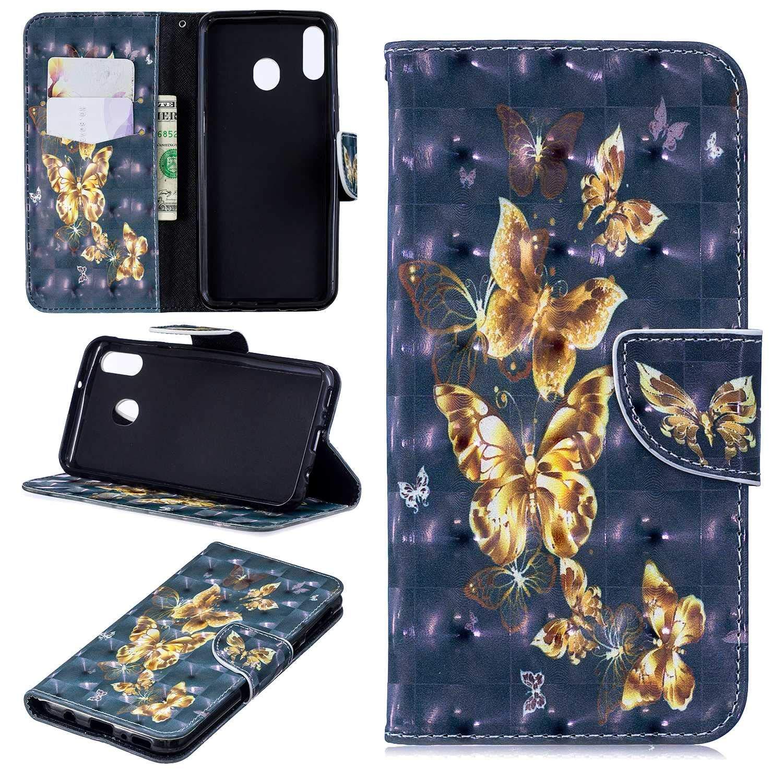 HCUI Compatible avec Galaxy M20 Coque Cuir Étui Wallet Housse, Portefeuille de Protection Coque avec Fonction Support Magnétique Pochette Antichoc Coque pour Galaxy M20 - Papillon doré.