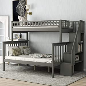 Space Saving Design Twin Over Full Stairway Convertible Bunk Beds for Kids with 4 Drawers in The Step & Guard Rails (Grey)