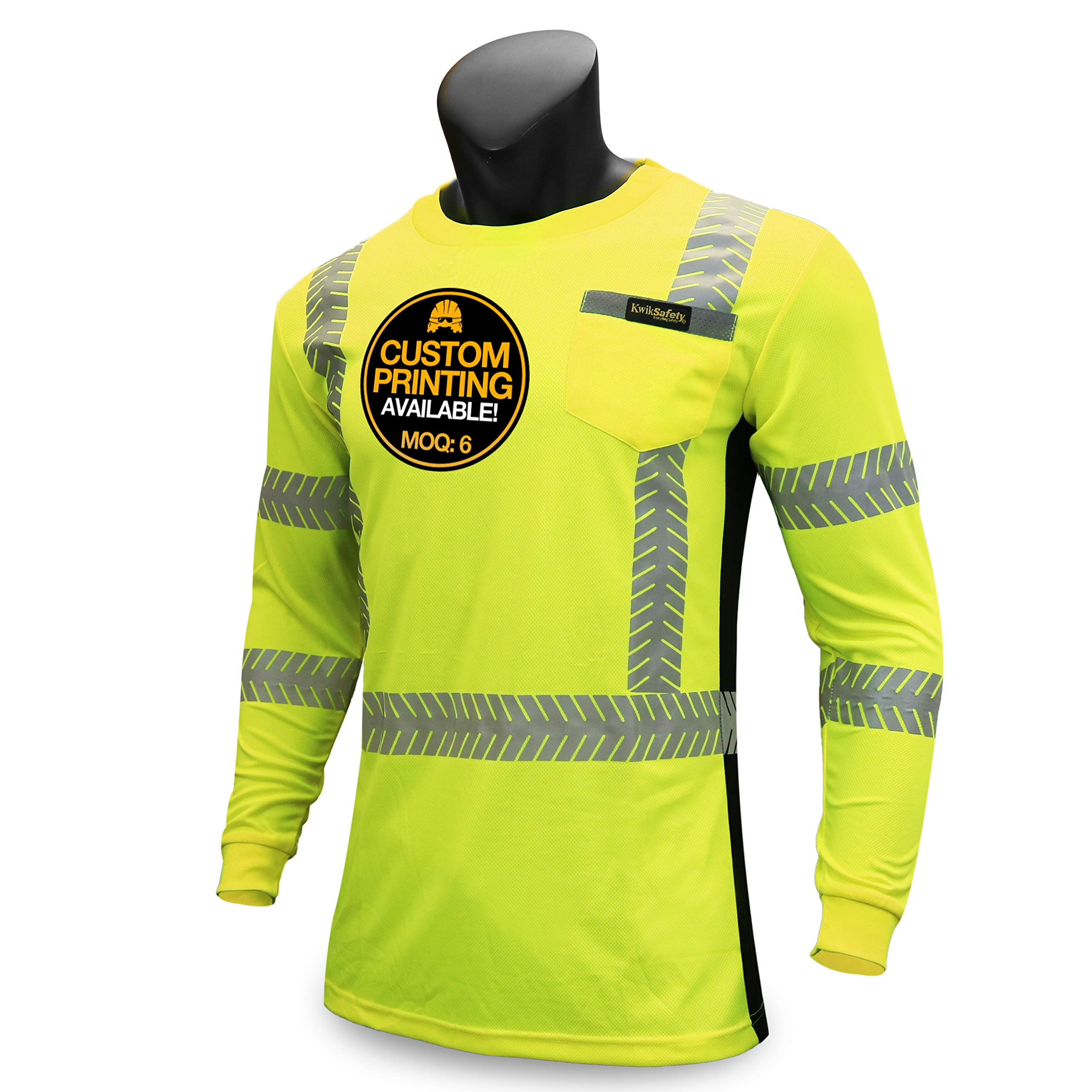 KwikSafety (Charlotte, NC) RENAISSANCE MAN (with POCKET) Class 3 ANSI High Visibility Safety Shirt Fishbone Reflective Tape Construction Security Hi Vis Clothing Men Long Sleeve Yellow Black Large
