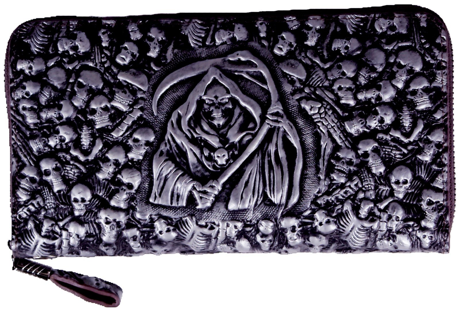 ABC STORY Mens Real Leather Gothic Grim Reaper Black Skull Evening Clutch Handbag Wristlets For Women