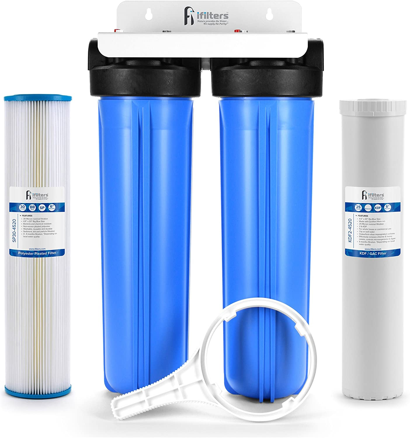 "Well Water Whole House Filtration System 20"" Dual Stage Complete Commercial Grade Sediment Odor Taste Rust 1"" Ports"