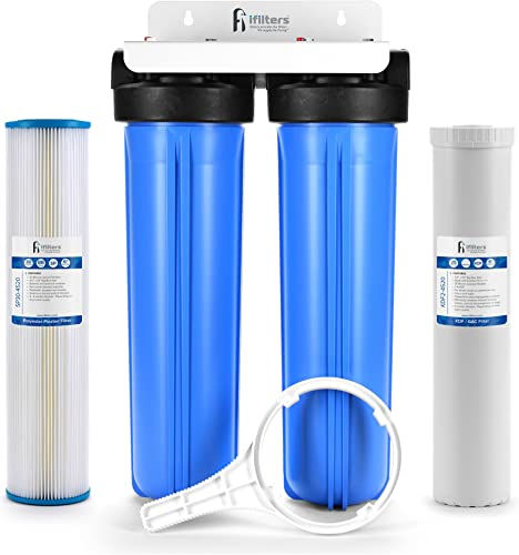 Well Water Whole House Filtration System 20 Dual Stage Complete Commercial Grade Sediment Odor Taste Rust 1 Ports