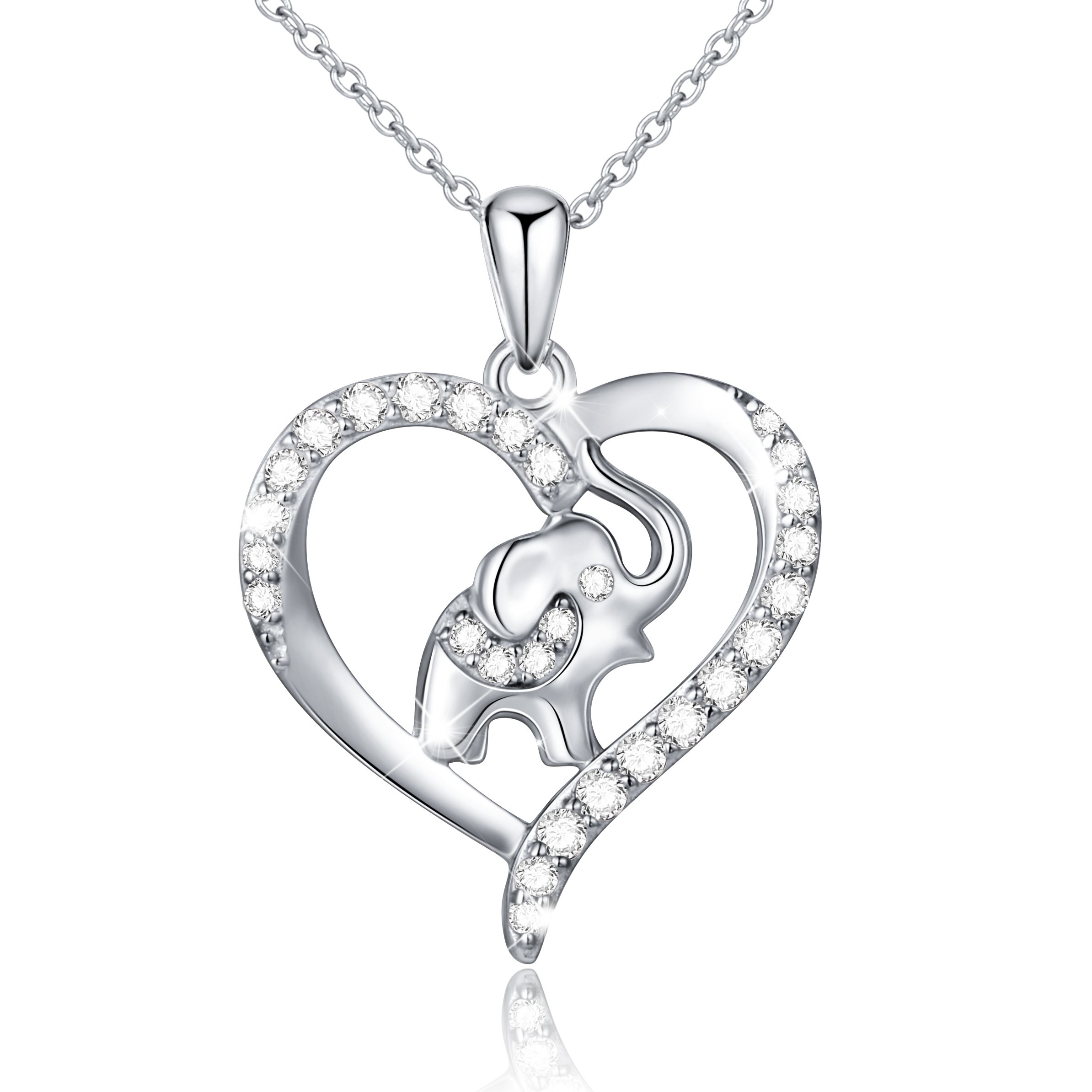 S925 Sterling Silver Lucky Elephant Love Heart Necklace for Women, 18'' Rolo Chain (Without Engraved)