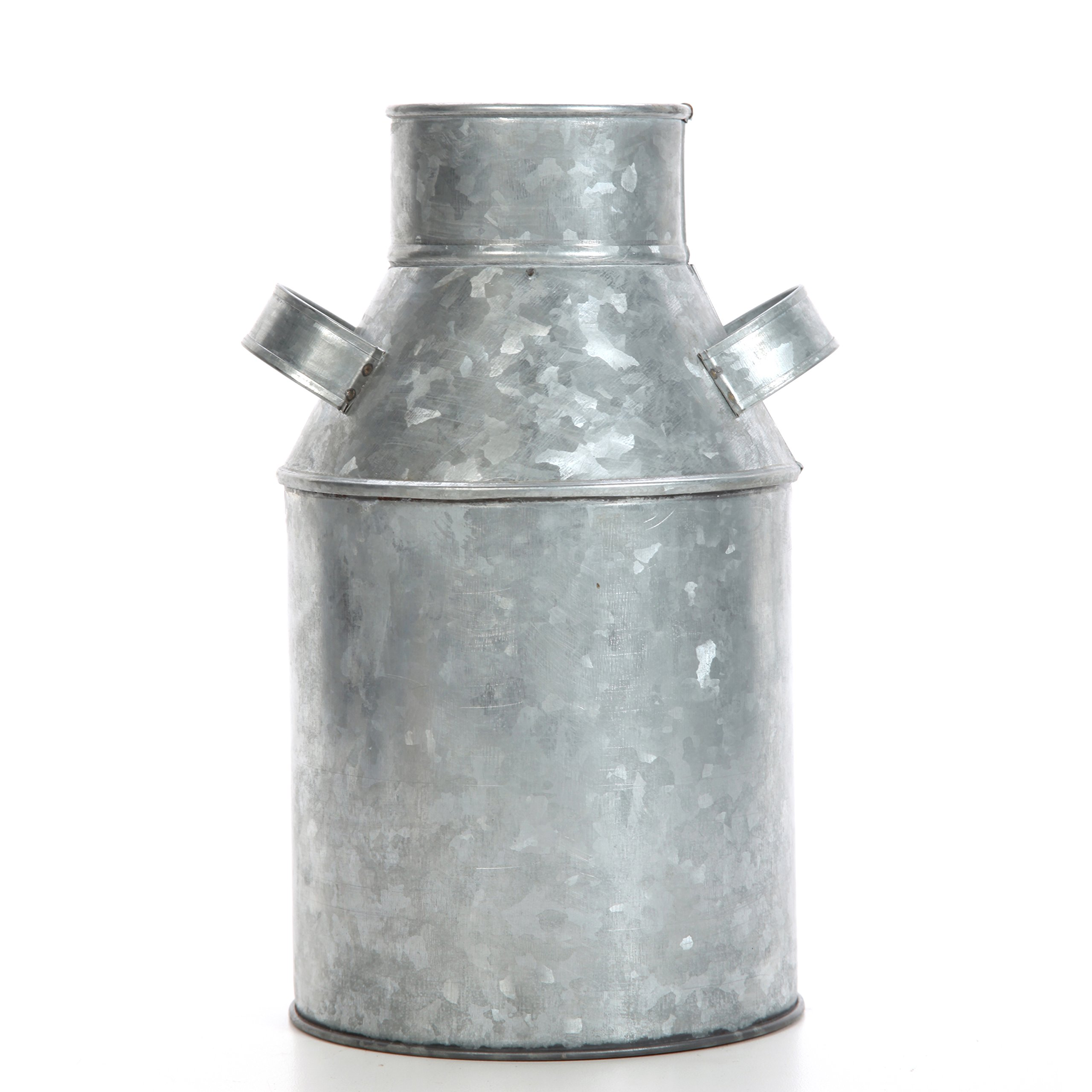 Hosley Galvanized Milk Can - 9.75'' High. Ideal for Weddings, Spa, Flower Arrangements. O3 by Hosley