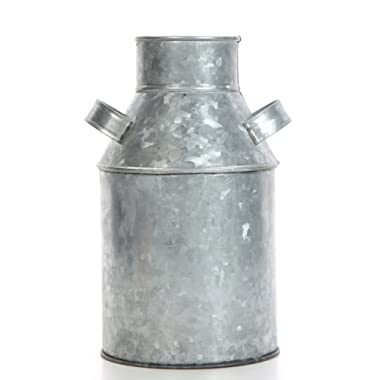 Hosley Galvanized Milk Can - 9.75  High. Ideal for Weddings, Spa, Flower Arrangements. O3