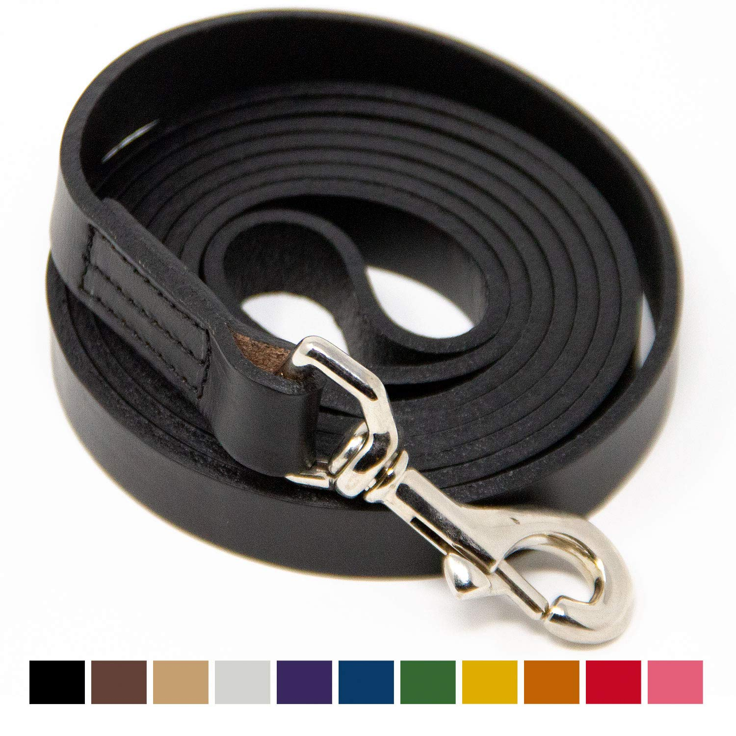 Logical Leather 6 Foot Dog Leash - Best for Training - Water Resistant Heavy Full Grain Leather Lead - Black by Logical Leather