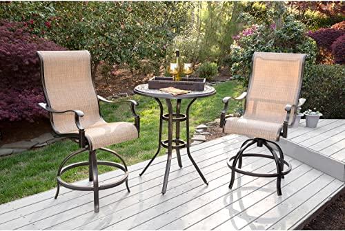 Hanover MANDN3PC-BR-P Manor 3-Piece 2 Contoured Swivel Chairs and a 30 in. Counter-Height Table Outdoor High-Dining Set