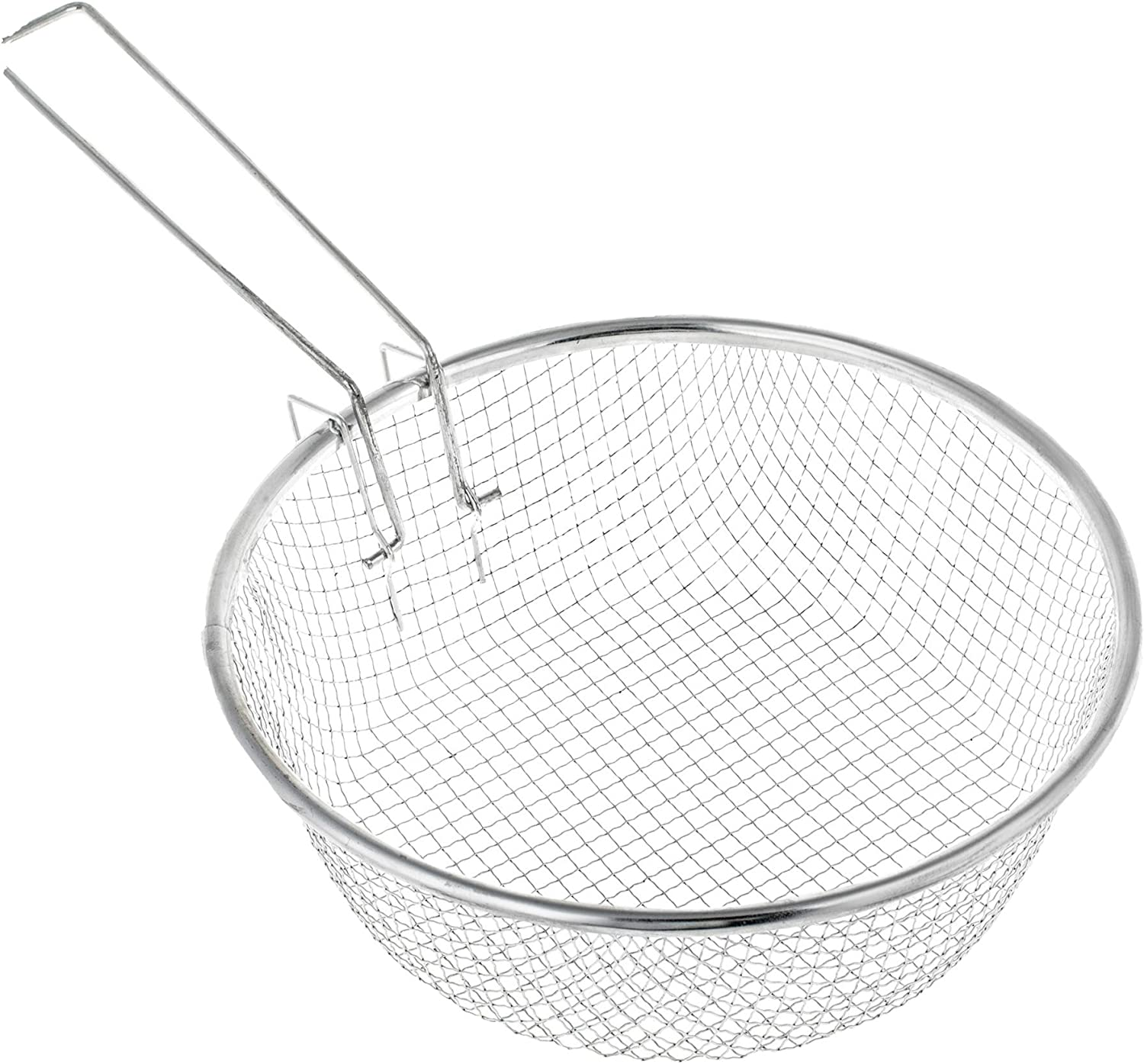 Commercial Round Fryer Basket with Handle - 11 Inch - Stainless Deep Wire Strainer for Frying
