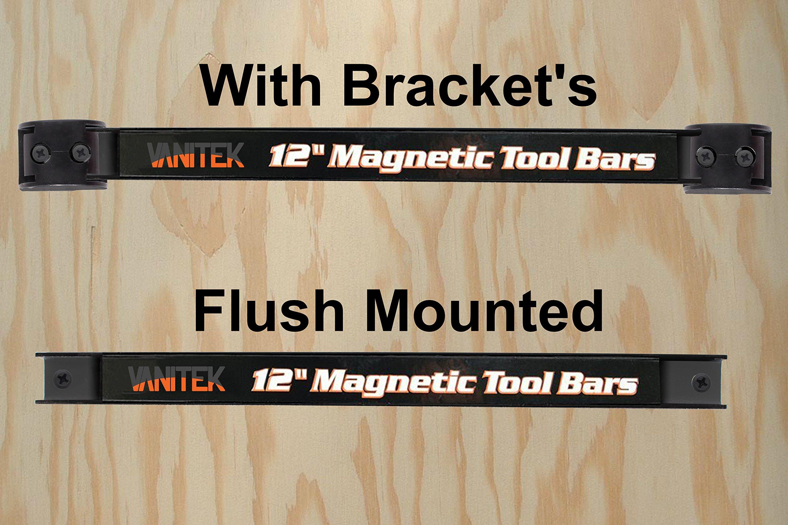 Vanitek 4 Heavy-Duty 12'' Magnetic Tool Holder Racks | Super Strong Metal Magnet Storage Tool Organizer Bars Set | Great for Garage/Workshops (Mounting Screws Included) by Vanitek (Image #4)