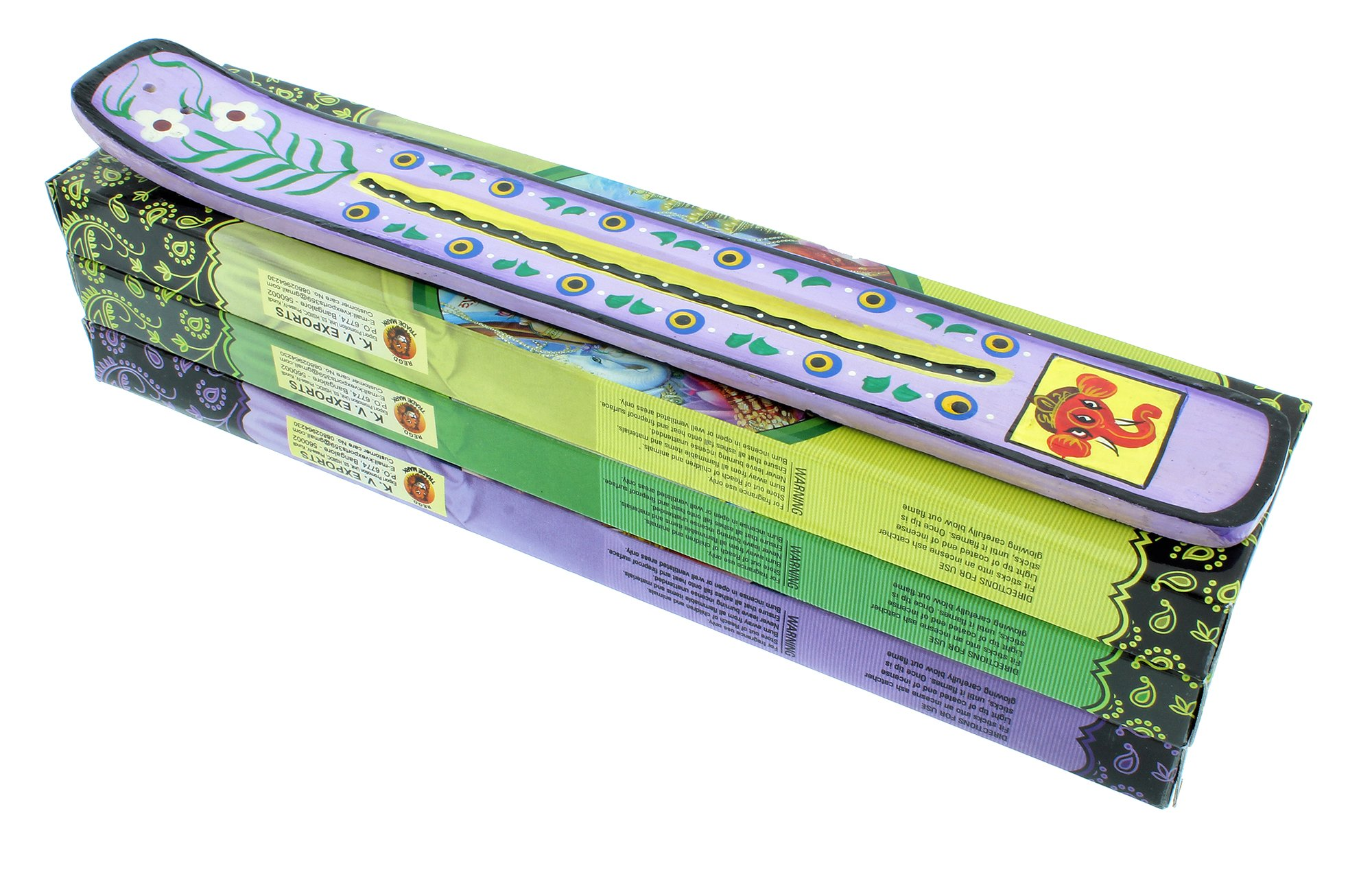 Zen Mood Incense Gift Pack - 3 Boxes of Assorted Indian God Incense and 1 Hand Painted Incense Holder with Ganesh Design - Purple