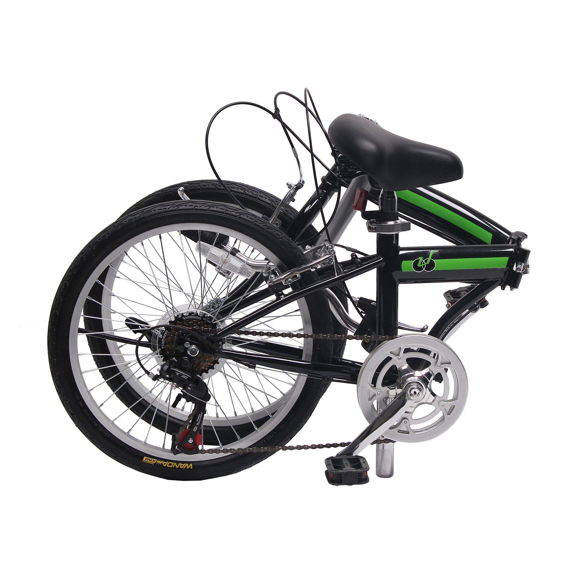 IDS Home Unyousual U Arc Folding City Bike Bicycle 6 Speed Steel Frame Shimano Gear Wanda Tire, Black by IDS Home (Image #2)