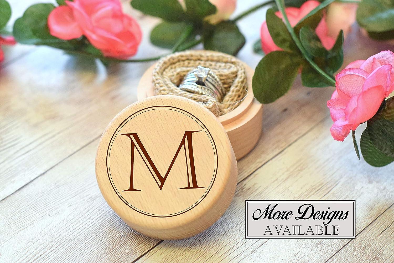 Custom Ring Bearer Box Personalized Engraving Round Wooden Wedding Ring Box