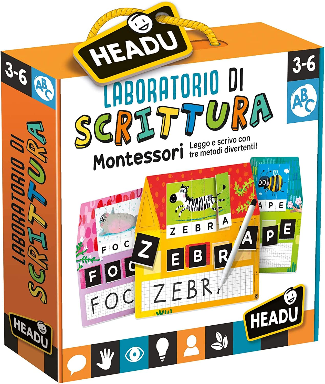 Multi-Coloured Headu IT23578 Laboratorio di Scrittura Montessori Educational Game