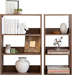 IRIS USA 3-Shelf Space Saving Open Wood Shelving Set, 2 Pack, Dark Brown
