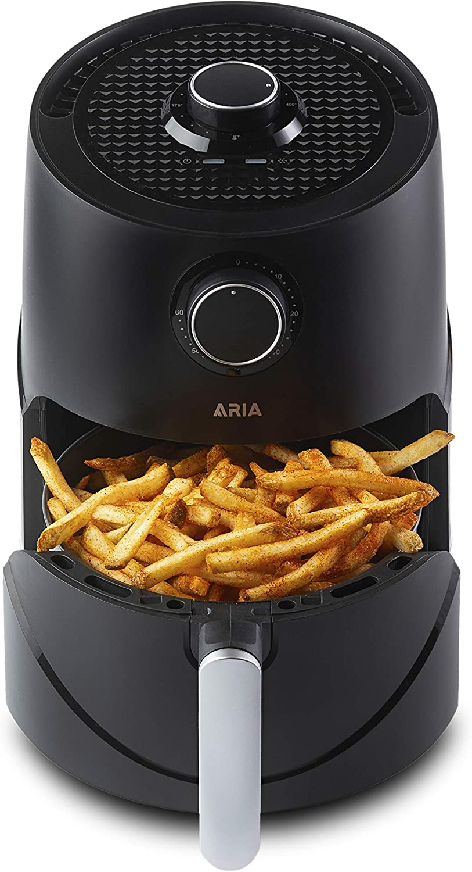 Aria Teflon-Free 3Qt Premium Ceramic Air Fryer with Recipe Book including Vegan and Keto Meals - Lux Black